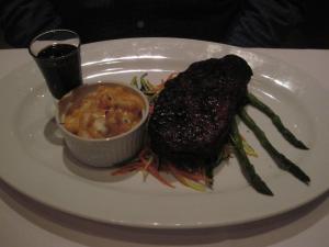 New York Strip, balsamic glaze, mac-n-cheese, asparagus