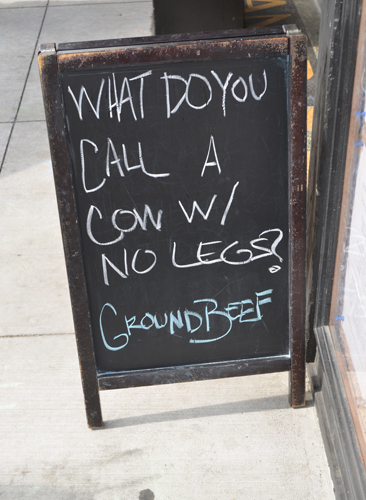 what do you call a cow with no legs? ground beef