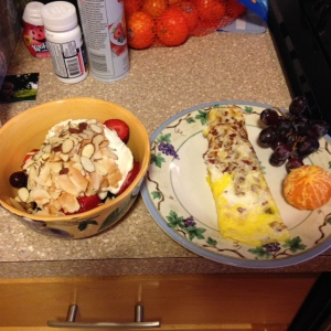 breakfast, yogurt, egg, fruit