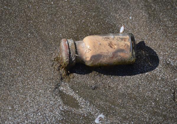 glass bottle found on beach near cameron jetty pier